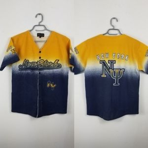 New York athletics yellow blue button up Jersey